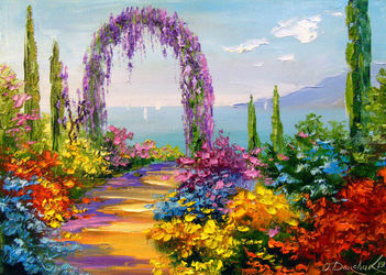 Blooming arch, Paintings, Expressionism,Impressionism, Botanical,Floral,Landscape,Nature, Canvas,Oil,Painting, By Olha   Darchuk
