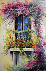 Blooming balcony, Paintings, Expressionism,Impressionism, Botanical,Floral,Landscape,Nature, Canvas,Oil,Painting, By Olha   Darchuk