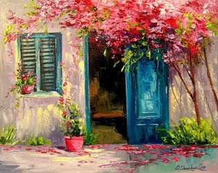Blooming courtyard, Paintings, Impressionism, Botanical,Floral,Landscape, Canvas,Oil,Painting, By Olha   Darchuk