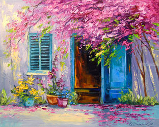 Blooming courtyard, Paintings, Impressionism, Botanical,Floral,Landscape,Nature, Canvas,Oil,Painting, By Olha   Darchuk