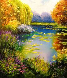 Blooming pond, Paintings, Expressionism,Fine Art,Impressionism,Romanticism, Botanical,Floral,Nature,Wildlife, Canvas,Oil,Painting, By Olha   Darchuk