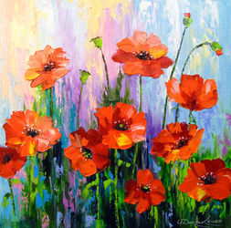 Blooming poppies, Paintings, Impressionism, Botanical,Floral,Nature, Canvas,Oil,Painting, By Olha   Darchuk