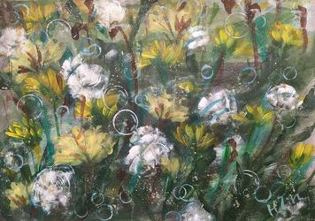 BLOWING BUBBLES - Dandelion<br>field, Paintings, Abstract,Expressionism,Fine Art,Modernism, Avant-Garde,Botanical,Floral,Nature,Still Life, Acrylic, By HSIN LIN
