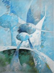 Blue 052, Paintings, Abstract, Architecture,Fantasy,Figurative,Floral,Nature, Canvas,Oil, By Beatrice BEDEUR