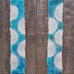 blue abstract diptych A134<br>Abstract Painting vertical<br>wall art Acrylic Original<br>Contemporary Art, Multipanel Art,Paintings, Abstract,Commercial Design,Minimalism,Modernism, Composition,Machnine Forms, Acrylic,Canvas,Mixed,Painting, By Ksavera Art