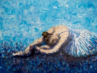 BLUE BALLERINA 2, Paintings, Impressionism, Performance Art, Acrylic, By ADRIAN WRIGHT