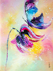 Blue butterfly, Paintings, Abstract, Animals,Botanical, Oil, By Liubov Kuptsova