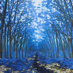 Blue Forest, Paintings, Expressionism, Nature, Acrylic, By Jane Adrianson
