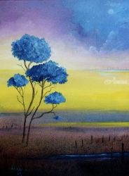 Blue Jacarandas, Paintings, Impressionism, Landscape, Canvas, By Alicia Maury