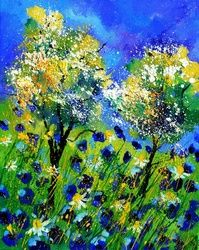 blue poppies 4551, Paintings, Expressionism, Botanical, Canvas, By Pol Ledent