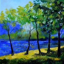 Blue river 77, Architecture,Decorative Arts,Drawings / Sketch,Paintings, Expressionism, Landscape, Canvas, By Pol Ledent