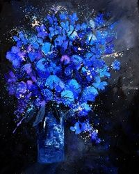 blue still life, Paintings, Expressionism, Botanical, Canvas, By Pol Ledent