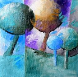 Blue trees 005, Paintings, Abstract, Botanical,Figurative,Floral,Landscape,Nature, Canvas,Oil, By Beatrice BEDEUR