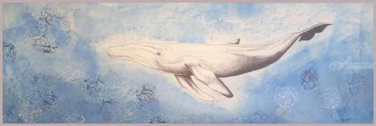 Blue whale, Drawings / Sketch, Abstract, Animals, Mixed, By Megan Coetzee