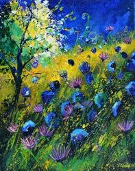 Blue wild flowers, Architecture,Decorative Arts,Drawings / Sketch,Paintings, Expressionism, Decorative, Canvas, By Pol Ledent