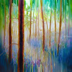 Bluebell Symphony - a very<br>large oil painting of a Spring<br>Woodland, Paintings, Impressionism, Landscape, Oil, By Gill Bustamante