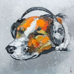 Blues for dog, Paintings, Fine Art, Animals, Canvas,Oil, By Liubov Kuptsova