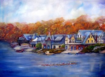 Boathouse Row in Philadelphia, Paintings, Fine Art,Impressionism,Realism,Romanticism, Architecture,Cityscape,Landscape,Window on the World, Canvas,Oil,Painting, By Loretta Luglio