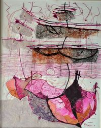 Boats, Collage, Expressionism,Impressionism, Seascape, Mixed, By Vyara Tichkova