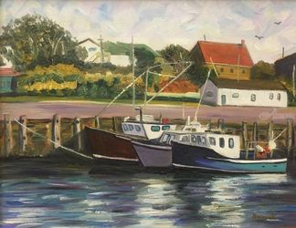 Boats At Rest, Nova Scotia, Paintings, Impressionism,Realism, Seascape, Oil,Painting, By Richard Nowak