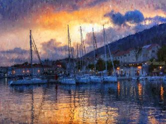 Boats-Croatia, Paintings, Impressionism, Nature, Oil,Painting, By Angelo
