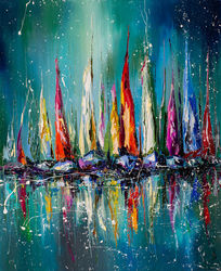 Boats in the harbor, Paintings, Impressionism, Landscape,Seascape, Oil, By Liubov Kuptsova