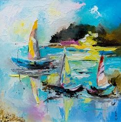 BOATS ON THE LAKE, Paintings, Impressionism, Landscape,Seascape, Fiber,Oil, By Lyubov Kuptsova