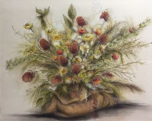 Bouqet, Paintings, Fine Art,Realism, Botanical,Floral, Mixed,Pastel,Pencil, By Abha Neotia