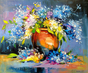 Bouquet in a ceramic vase, Paintings, Impressionism, Botanical,Floral,Nature, Canvas,Oil,Painting, By Olha   Darchuk