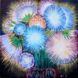 Bouquet of asters, Paintings, Fine Art, Botanical, Acrylic,Canvas, By Victor Ovsyannikov