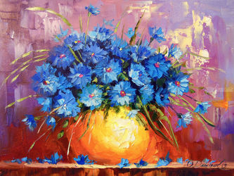 Bouquet of cornflowers, Paintings, Impressionism, Botanical,Floral,Nature, Canvas,Oil,Painting, By Olha   Darchuk