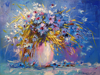 Bouquet of cornflowers, Paintings, Fine Art,Impressionism, Botanical,Floral,Still Life, Canvas,Oil,Painting, By Olha   Darchuk