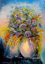 Bouquet of cornflowers, Paintings, Impressionism, Floral,Nature, Canvas,Oil,Painting, By Olha   Darchuk