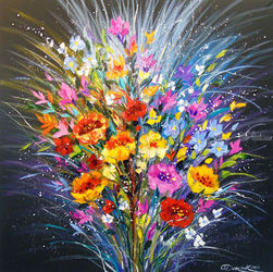 Bouquet of flowers for<br>happiness, Paintings, Abstract,Impressionism, Analytical art,Floral, Canvas,Oil,Painting, By Olha   Darchuk