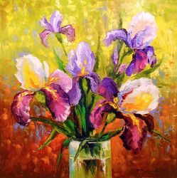 Bouquet of irises, Paintings, Expressionism,Impressionism, Botanical,Floral, Canvas,Oil,Painting, By Olha   Darchuk