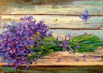 Bouquet of lavender, Paintings, Fine Art,Impressionism, Botanical,Floral,Nature, Canvas,Oil,Painting, By Olha   Darchuk
