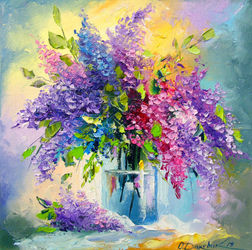Bouquet of lilac, Paintings, Impressionism, Botanical,Floral, Canvas,Oil,Painting, By Olha   Darchuk