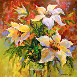 Bouquet of lilies, Paintings, Expressionism,Impressionism, Botanical,Floral,Inspirational, Canvas,Oil,Painting, By Olha   Darchuk