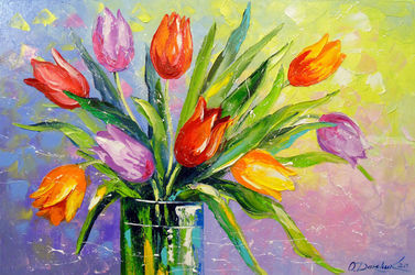 Bouquet of multi-colored<br>tulips, Paintings, Fine Art,Impressionism, Botanical,Floral, Canvas,Oil,Painting, By Olha   Darchuk