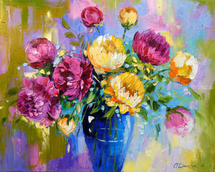 Bouquet of peonies in a vase, Paintings, Impressionism, Botanical,Floral, Canvas,Oil,Painting, By Olha   Darchuk