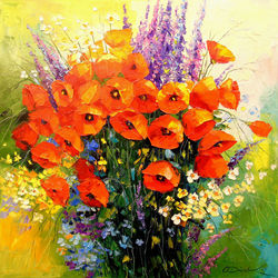 Bouquet of red poppies, Paintings, Impressionism, Botanical,Floral,Nature, Canvas,Oil,Painting, By Olha   Darchuk