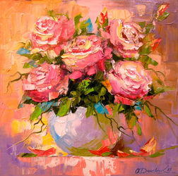 Bouquet of roses, Paintings, Impressionism, Botanical,Floral,Nature, Canvas,Oil,Painting, By Olha   Darchuk