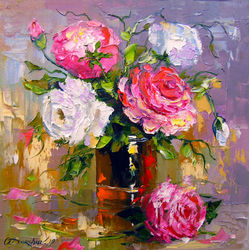 Bouquet of roses, Paintings, Impressionism, Botanical,Floral, Canvas,Oil,Painting, By Olha   Darchuk