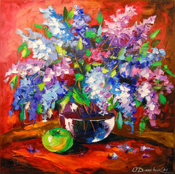 Bouquet of spring lilac, Paintings, Fine Art,Impressionism, Botanical,Floral, Canvas,Oil,Painting, By Olha   Darchuk