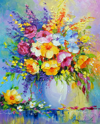 Bouquet of summer flowers, Paintings, Impressionism, Botanical,Floral, Canvas,Oil,Painting, By Olha   Darchuk