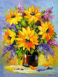 Bouquet of sunflowers, Paintings, Impressionism, Botanical,Floral, Canvas,Oil,Painting, By Olha   Darchuk