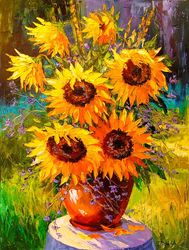 Bouquet of sunflowers in<br>nature, Paintings, Impressionism, Floral, Canvas,Oil,Painting, By Olha   Darchuk