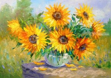 Bouquet of sunflowers on the<br>table, Paintings, Impressionism, Floral,Nature, Canvas,Oil,Painting, By Olha   Darchuk