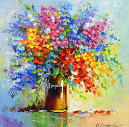 Bouquet of wild flowers, Paintings, Expressionism,Fine Art,Impressionism, Botanical,Floral, Canvas,Oil,Painting, By Olha   Darchuk