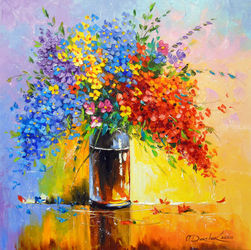 Bouquet of wild flowers, Paintings, Fine Art,Impressionism, Botanical,Floral, Canvas,Oil,Painting, By Olha   Darchuk
